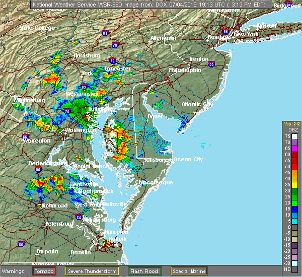 Radar Image for Severe Thunderstorms near Williston, MD at 7/4/2019 3:18 PM EDT