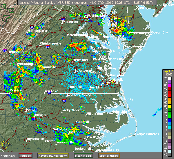 Radar Image for Severe Thunderstorms near Yogaville, VA at 7/4/2019 3:30 PM EDT