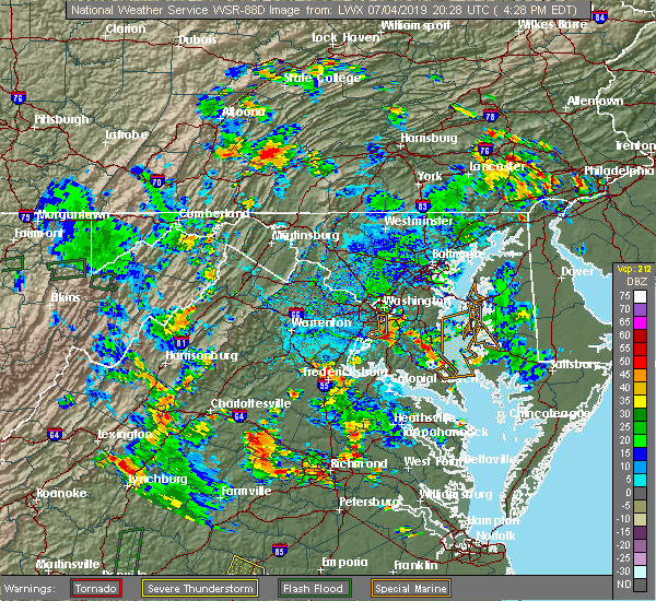 Radar Image for Severe Thunderstorms near Bryans Road, MD at 7/4/2019 4:33 PM EDT