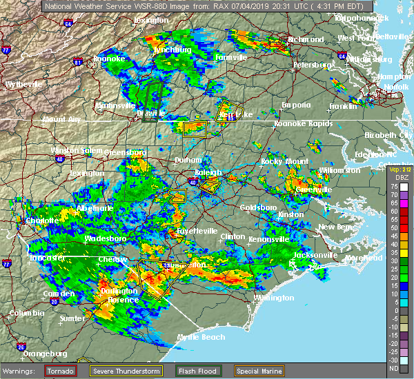 Radar Image for Severe Thunderstorms near Fuquay-Varina, NC at 7/4/2019 4:39 PM EDT