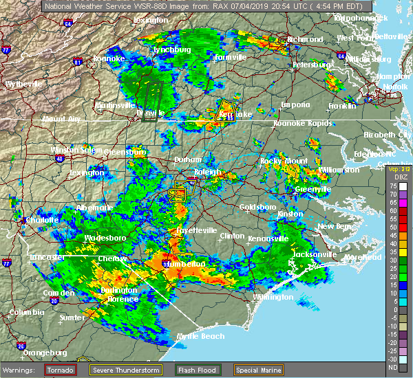 Radar Image for Severe Thunderstorms near Fuquay-Varina, NC at 7/4/2019 4:58 PM EDT
