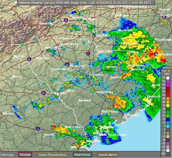 Radar Image for Severe Thunderstorms near Moncks Corner, SC at 7/4/2019 5:13 PM EDT
