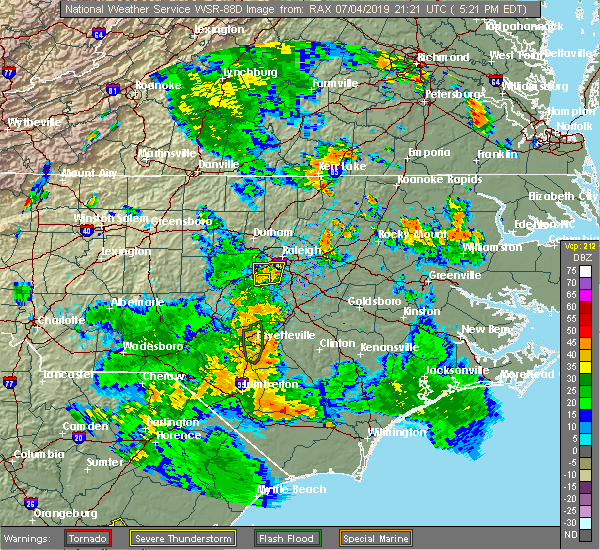 Radar Image for Severe Thunderstorms near Fuquay-Varina, NC at 7/4/2019 5:24 PM EDT
