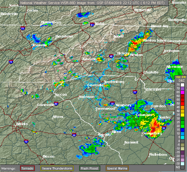 Radar Image for Severe Thunderstorms near Rosman, NC at 7/4/2019 6:15 PM EDT