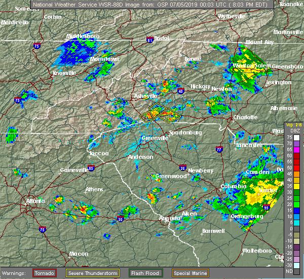 Radar Image for Severe Thunderstorms near Hendersonville, NC at 7/4/2019 8:06 PM EDT