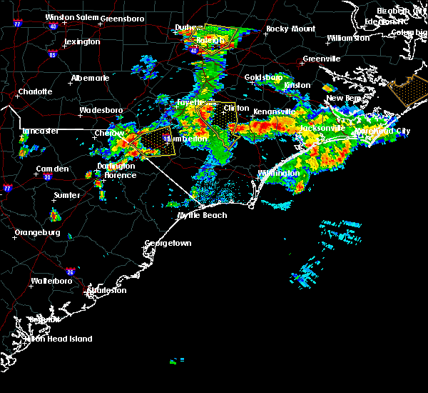 Radar Image for Severe Thunderstorms near Pembroke, NC at 6/19/2015 8:46 PM EDT