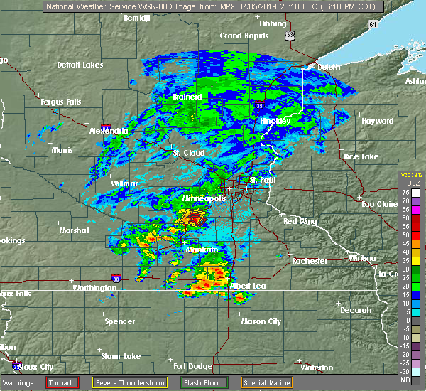 Radar Image for Severe Thunderstorms near Le Sueur, MN at 7/5/2019 6:17 PM CDT