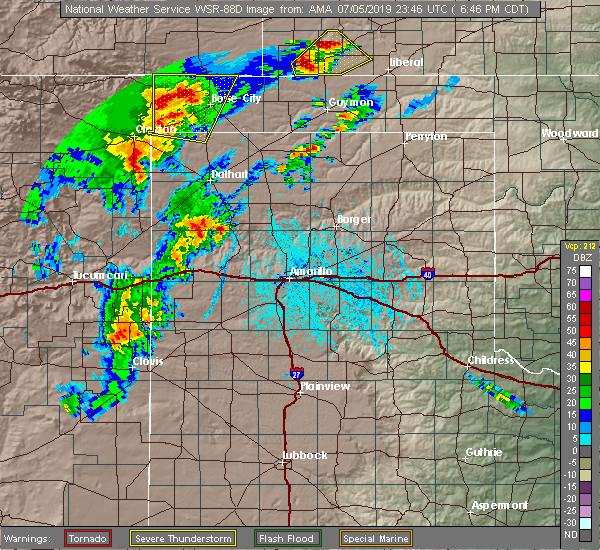 Radar Image for Severe Thunderstorms near Boise City, OK at 7/5/2019 6:49 PM CDT