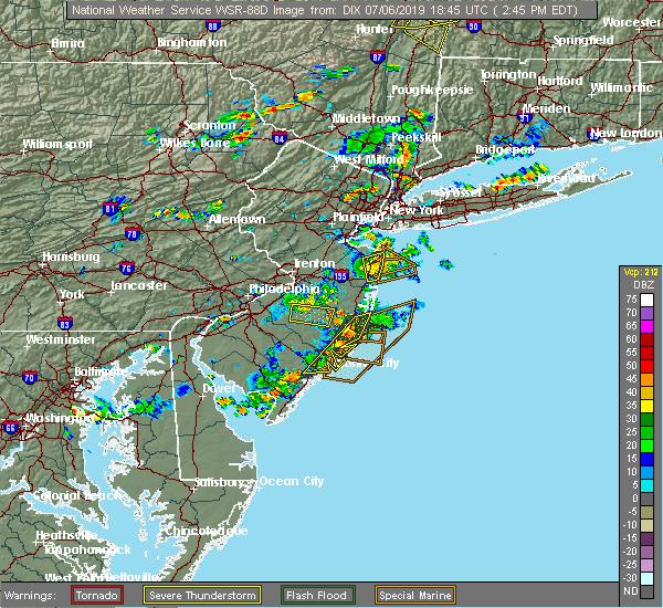 Radar Image for Severe Thunderstorms near Leisuretowne, NJ at 7/6/2019 2:47 PM EDT