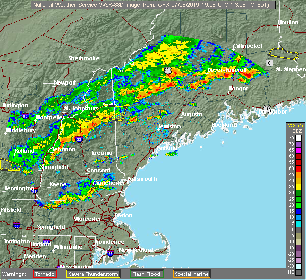 Radar Image for Severe Thunderstorms near Berlin, NH at 7/6/2019 3:10 PM EDT