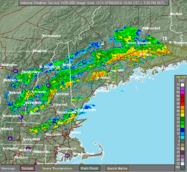 Radar Image for Severe Thunderstorms near Auburn, ME at 7/6/2019 4:06 PM EDT