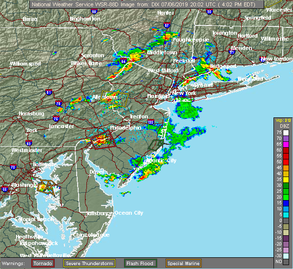 Radar Image for Severe Thunderstorms near Easton, PA at 7/6/2019 4:07 PM EDT