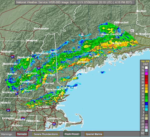 Radar Image for Severe Thunderstorms near Auburn, ME at 7/6/2019 4:24 PM EDT