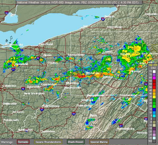 Radar Image for Severe Thunderstorms near Frankfort Springs, PA at 7/6/2019 4:33 PM EDT