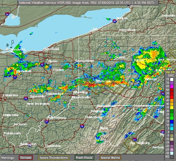 Radar Image for Severe Thunderstorms near Baldwin, PA at 7/6/2019 4:37 PM EDT