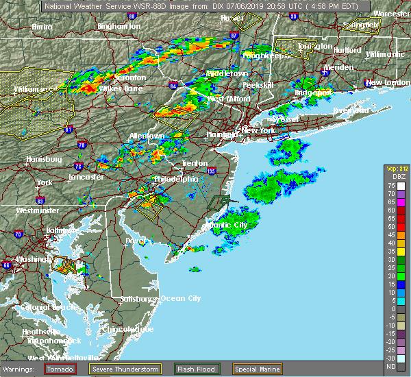 Radar Image for Severe Thunderstorms near Clayton, NJ at 7/6/2019 5:02 PM EDT