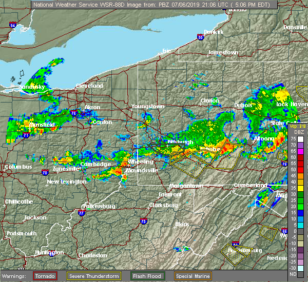 Radar Image for Severe Thunderstorms near Youngstown, PA at 7/6/2019 5:08 PM EDT