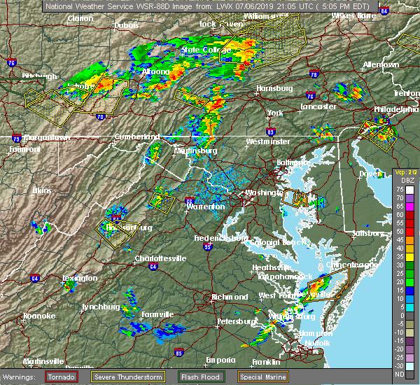 Radar Image for Severe Thunderstorms near Apple Mountain Lake, VA at 7/6/2019 5:10 PM EDT