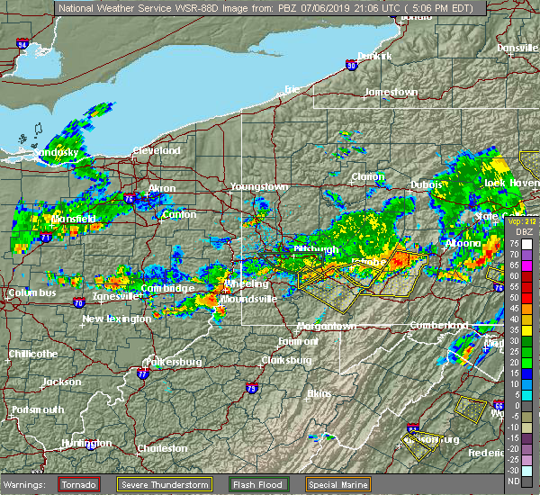 Radar Image for Severe Thunderstorms near Youngstown, PA at 7/6/2019 5:13 PM EDT