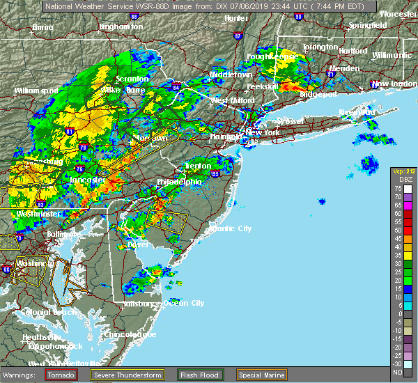 Radar Image for Severe Thunderstorms near Buena, NJ at 7/6/2019 7:51 PM EDT