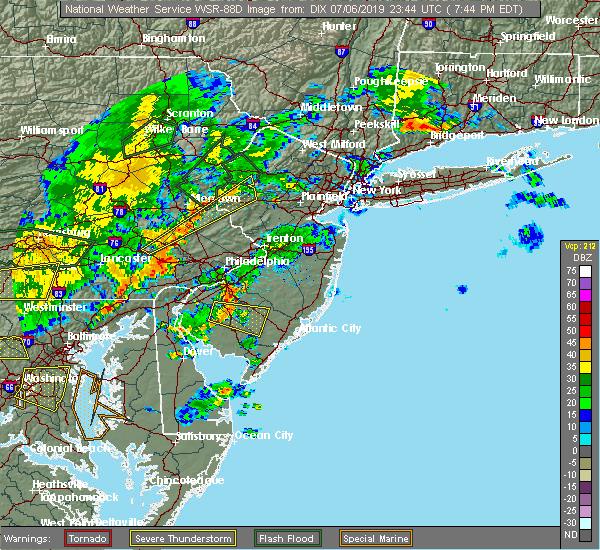Radar Image for Severe Thunderstorms near Clayton, NJ at 7/6/2019 7:51 PM EDT