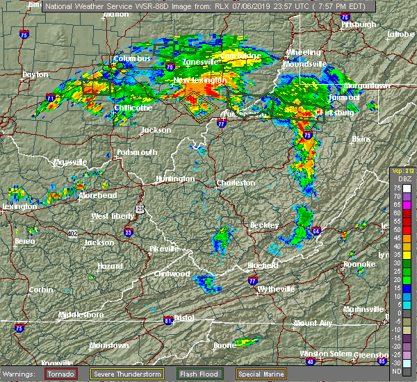 Radar Image for Severe Thunderstorms near Stewart, OH at 7/6/2019 8:02 PM EDT