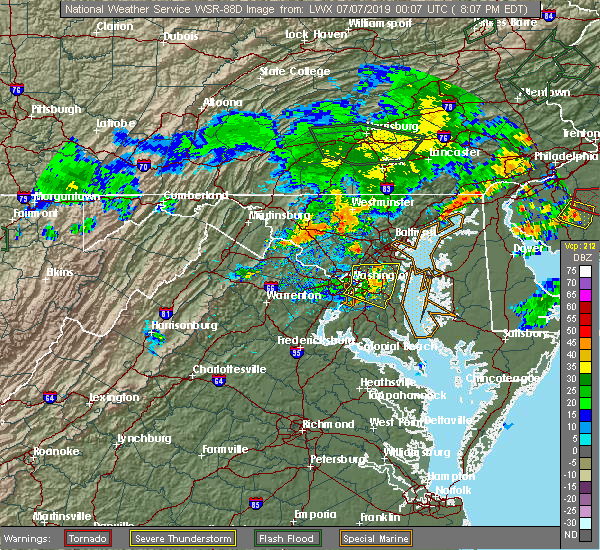 Radar Image for Severe Thunderstorms near Lanham, MD at 7/6/2019 8:12 PM EDT