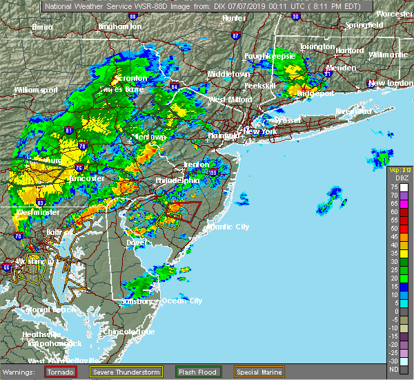Radar Image for Severe Thunderstorms near Buena, NJ at 7/6/2019 8:14 PM EDT