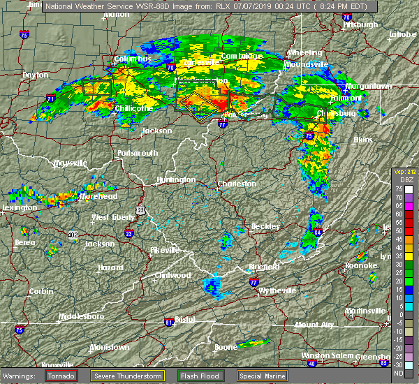 Radar Image for Severe Thunderstorms near Stewart, OH at 7/6/2019 8:27 PM EDT