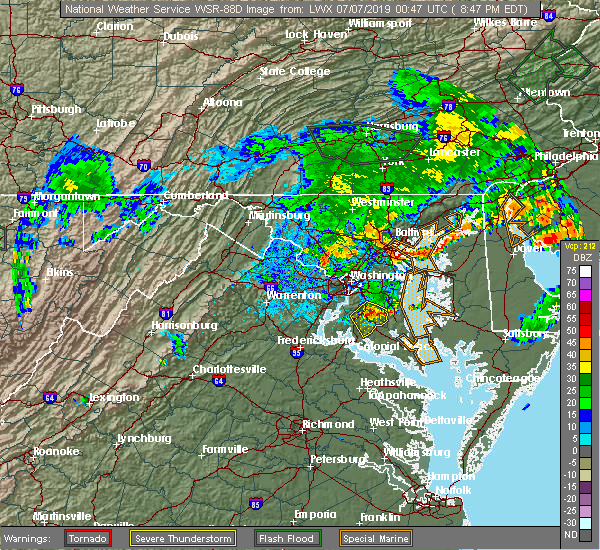 Radar Image for Severe Thunderstorms near Aquasco, MD at 7/6/2019 8:50 PM EDT