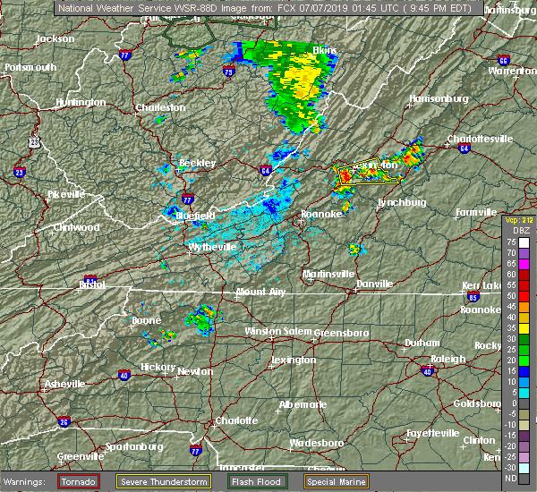 Radar Image for Severe Thunderstorms near East Lexington, VA at 7/6/2019 9:50 PM EDT