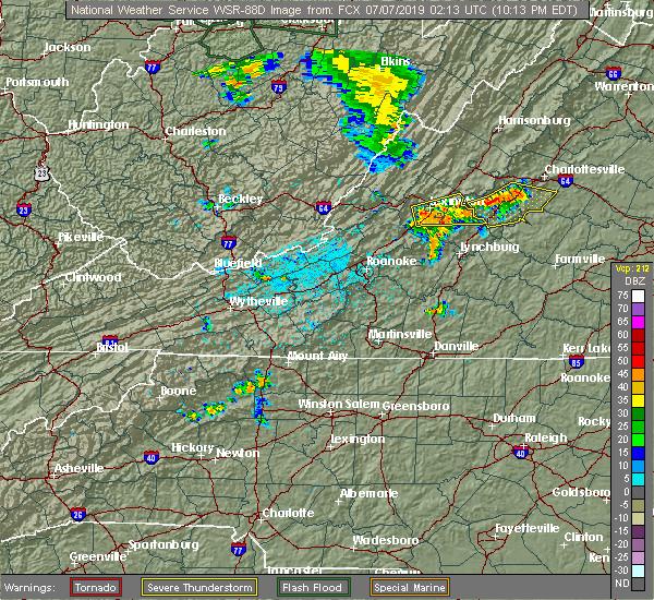 Radar Image for Severe Thunderstorms near East Lexington, VA at 7/6/2019 10:18 PM EDT