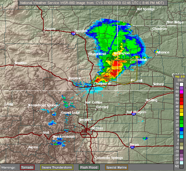 Radar Image for Severe Thunderstorms near Hillsdale, WY at 7/6/2019 8:50 PM MDT