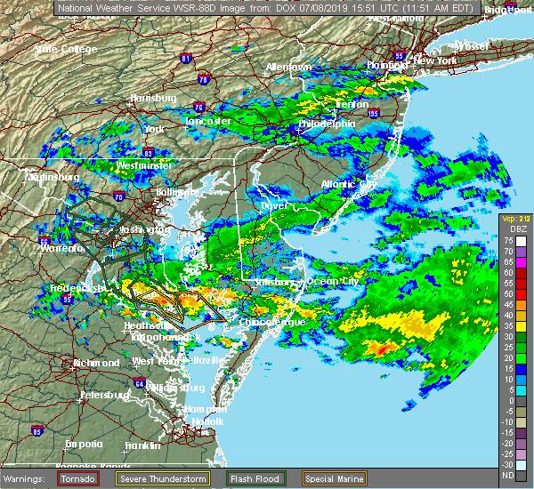Radar Image for Severe Thunderstorms near Leonardtown, MD at 7/8/2019 11:54 AM EDT