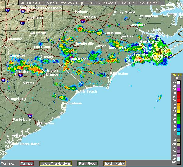 Radar Image for Severe Thunderstorms near Hallsboro, NC at 7/8/2019 5:41 PM EDT