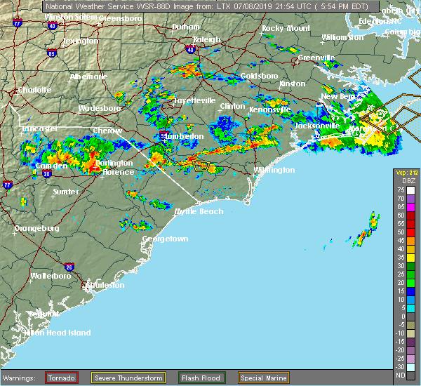 Radar Image for Severe Thunderstorms near Hallsboro, NC at 7/8/2019 5:59 PM EDT