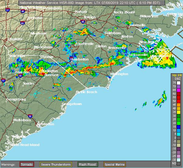 Radar Image for Severe Thunderstorms near Hallsboro, NC at 7/8/2019 6:12 PM EDT