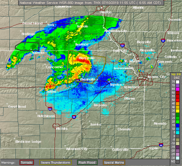 Radar Image for Severe Thunderstorms near Manhattan, KS at 7/10/2019 6:57 AM CDT