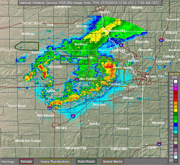 Radar Image for Severe Thunderstorms near Wetmore, KS at 7/10/2019 8:00 AM CDT