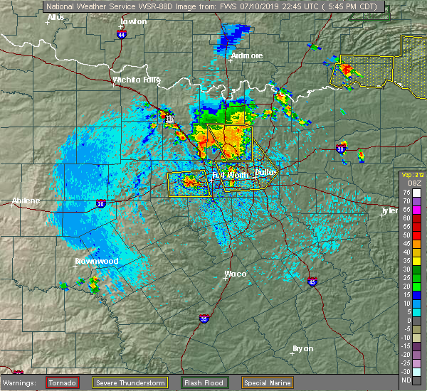 Radar Image for Severe Thunderstorms near Fort Worth, TX at 7/10/2019 5:48 PM CDT
