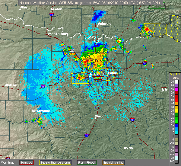 Radar Image for Severe Thunderstorms near Southlake, TX at 7/10/2019 5:54 PM CDT