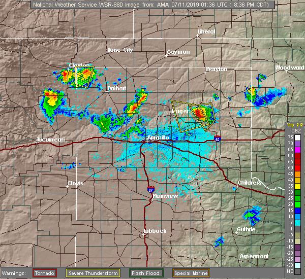 Radar Image for Severe Thunderstorms near Lefors, TX at 7/10/2019 8:41 PM CDT