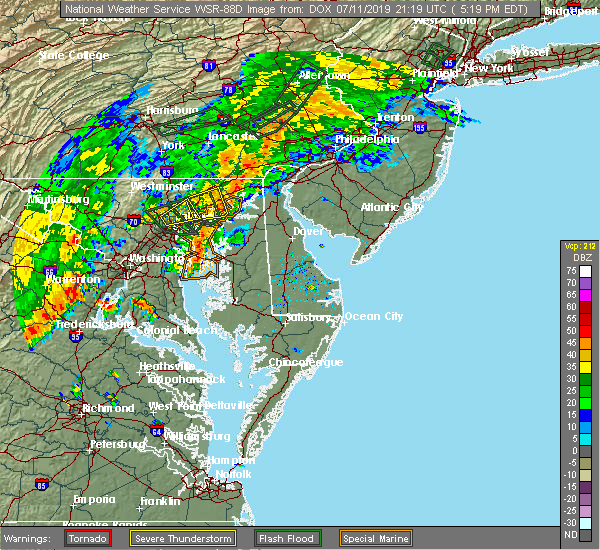 Radar Image for Severe Thunderstorms near Bowleys Quarters, MD at 7/11/2019 5:23 PM EDT