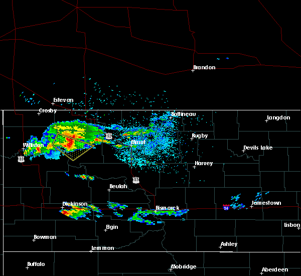 Radar Image for Severe Thunderstorms near New Town, ND at 7/12/2019 9:09 PM CDT