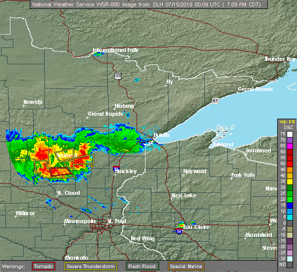 Radar Image for Severe Thunderstorms near Ironton, MN at 7/14/2019 7:13 PM CDT