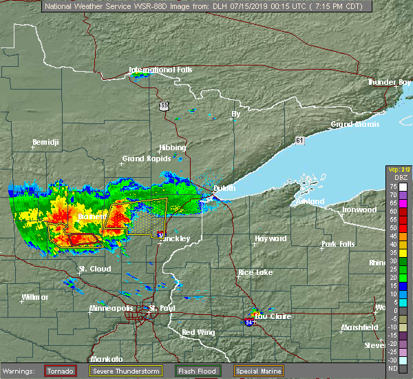 Radar Image for Severe Thunderstorms near Aitkin, MN at 7/14/2019 7:20 PM CDT