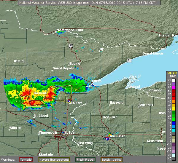 Radar Image for Severe Thunderstorms near Rutledge, MN at 7/14/2019 7:20 PM CDT