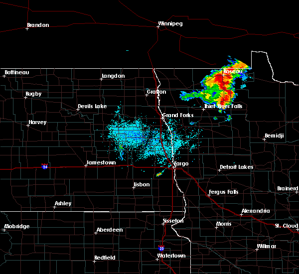 Radar Image for Severe Thunderstorms near Roseau, MN at 7/15/2019 11:03 AM CDT
