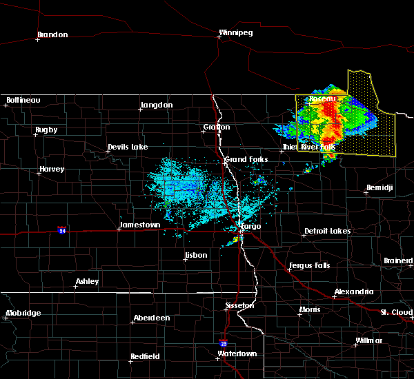 Radar Image for Severe Thunderstorms near Warroad, MN at 7/15/2019 11:25 AM CDT