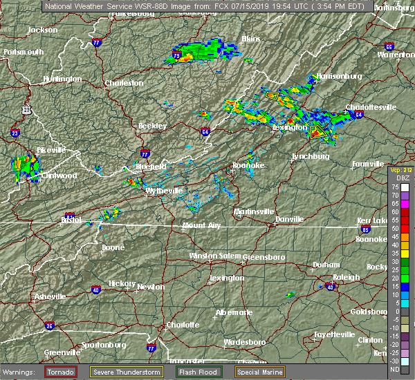 Radar Image for Severe Thunderstorms near Lovingston, VA at 7/15/2019 3:56 PM EDT